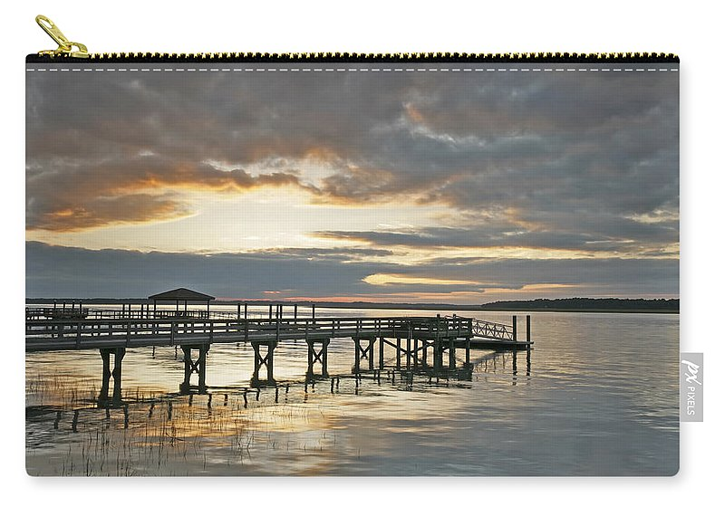 Sunset Carry-all Pouch featuring the photograph Dock Reflections by Phill Doherty