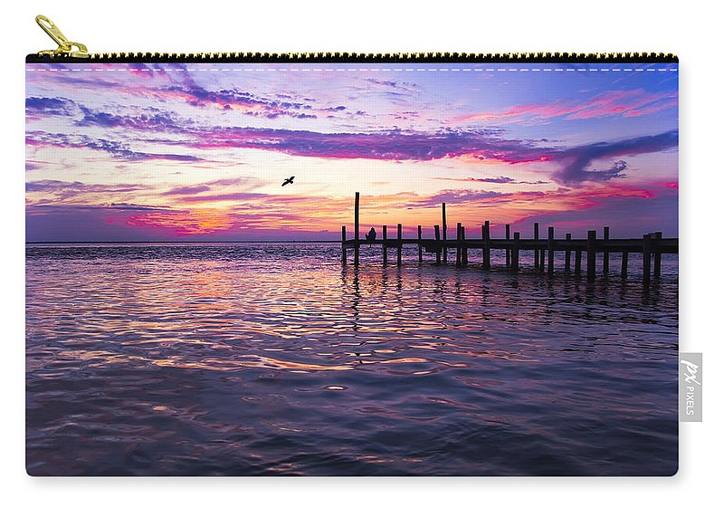 Dock Carry-all Pouch featuring the photograph Dockside Sunset by Janet Fikar