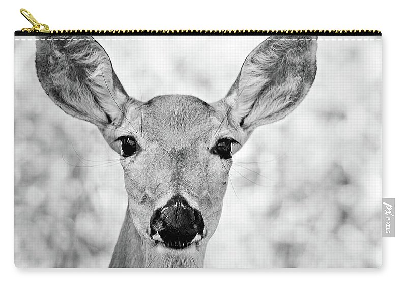 Deer Carry-all Pouch featuring the photograph Doe Eyes - Bw by Lana Trussell