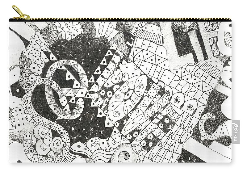 Words Carry-all Pouch featuring the drawing Does It Come With Instructions by Helena Tiainen