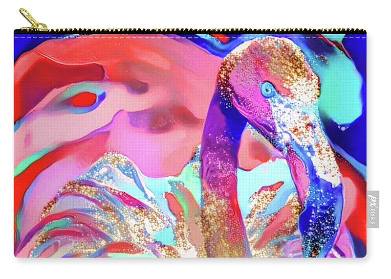 Flamingo Carry-all Pouch featuring the digital art Doflamingo by ArtMarketJapan