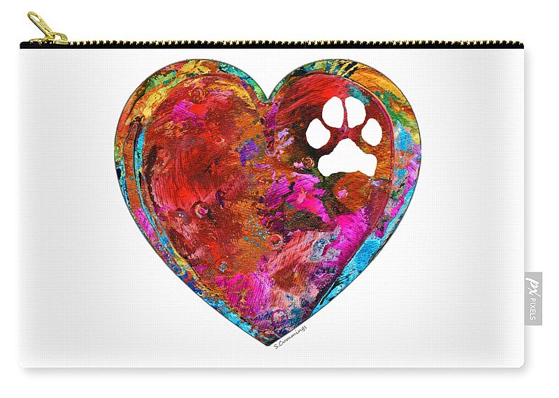 Dog Carry-all Pouch featuring the painting Dog Art - Puppy Love 2 - Sharon Cummings by Sharon Cummings