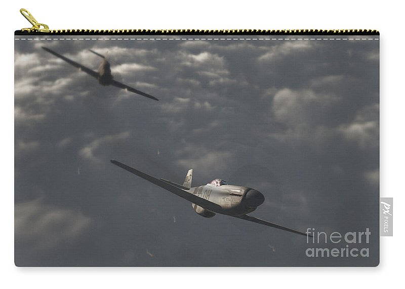 Ww2 Carry-all Pouch featuring the digital art Dog Fight by Richard Rizzo