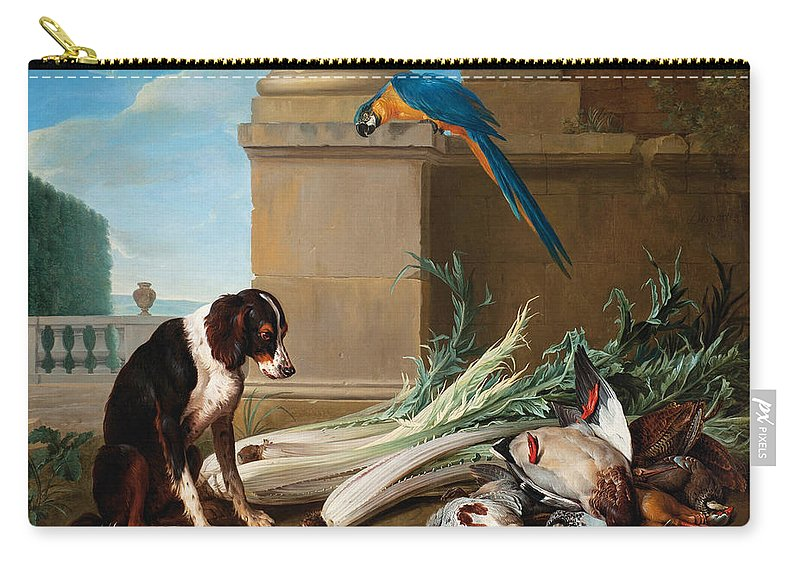 Alexandre-francois Desportes Carry-all Pouch featuring the painting Dog Guarding A Hunting Trophy by Alexandre-Francois Desportes