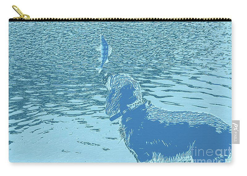 Dog Vs Perch 2 Carry-all Pouch featuring the digital art Dog Vs Perch 2 by Chris Taggart