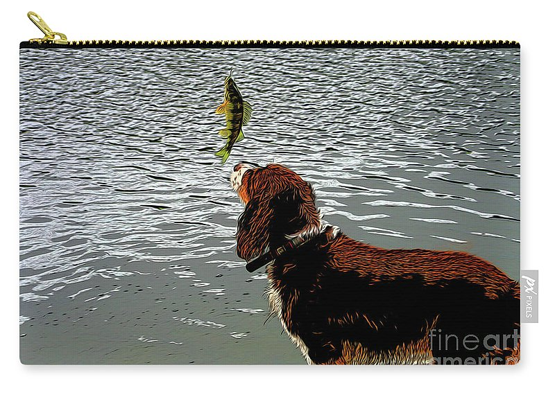 Dog Vs Perch 4 Carry-all Pouch featuring the digital art Dog Vs Perch 4 by Chris Taggart