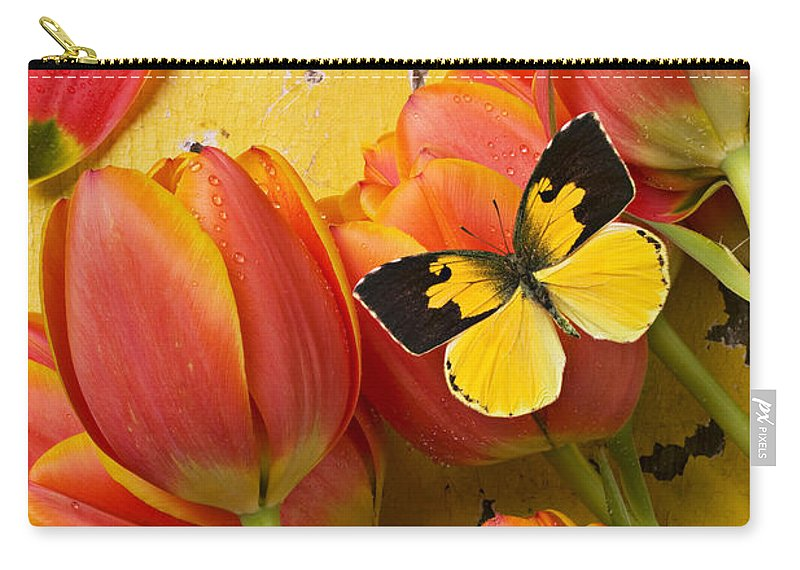 Butterfly Carry-all Pouch featuring the photograph Dogface Butterfly And Tulips by Garry Gay