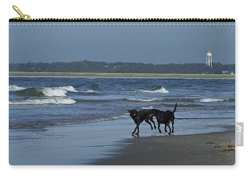 Dog Carry-all Pouch featuring the photograph Dogs On The Beach by Teresa Mucha