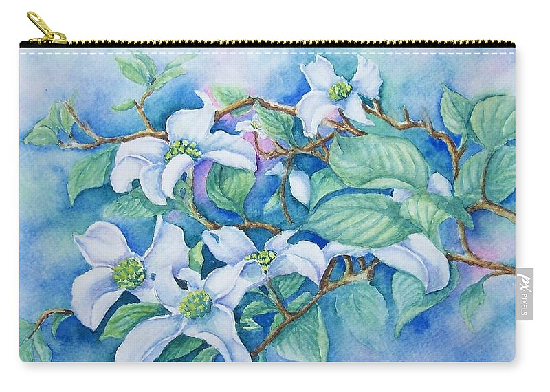 Floral Carry-all Pouch featuring the painting Dogwood by Conni Reinecke