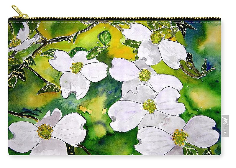 Dogwood Carry-all Pouch featuring the painting Dogwood Tree Flowers by Derek Mccrea