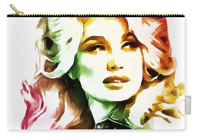 Dolly Parton Carry-all Pouch featuring the painting Dolly Parton Collection - 1 by Sergey Lukashin