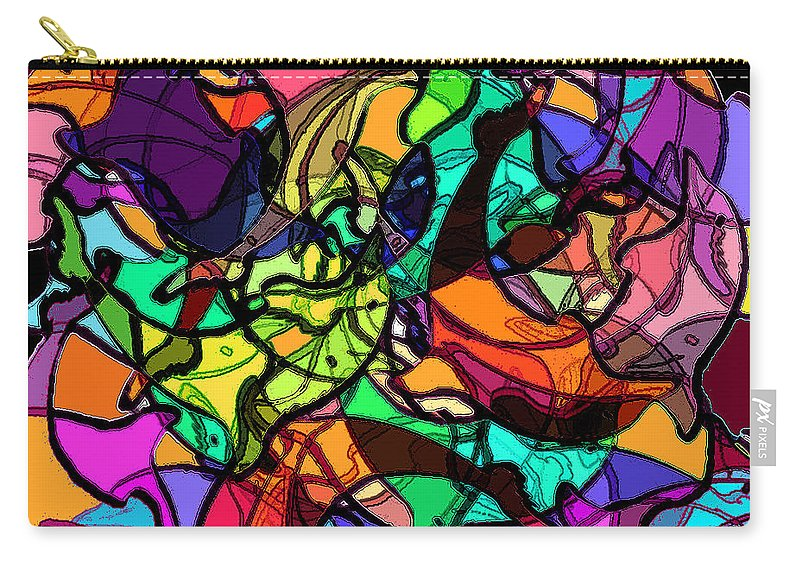 Abstract Carry-all Pouch featuring the digital art Dolphin Kaleidoscope by Rachel Christine Nowicki