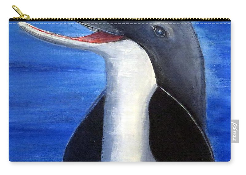 Dolphin Carry-all Pouch featuring the painting Dolphin Laughing by Bernadette Krupa