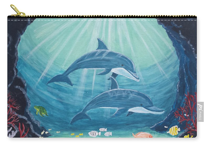 Blue Carry-all Pouch featuring the painting Dolphin Play by Erin Stefanak