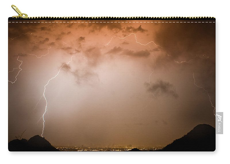 Lightning Carry-all Pouch featuring the photograph Dome Of Lightning by James BO Insogna