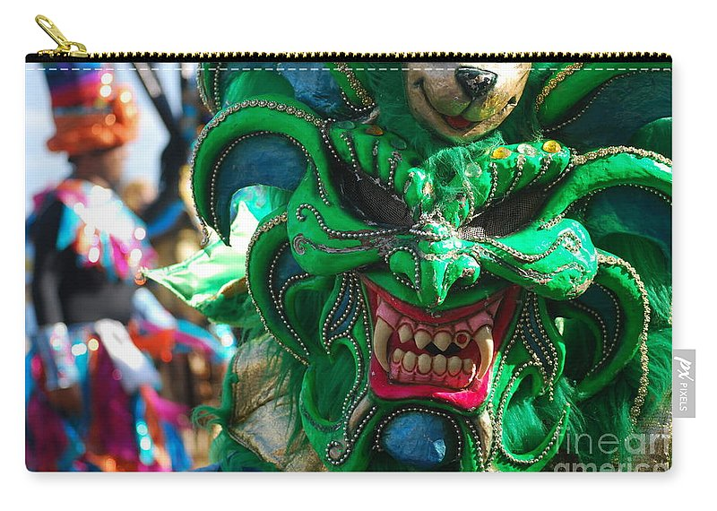 Carnival Carry-all Pouch featuring the photograph Dominican Republic Carnival Parade Green Devil Mask by Heather Kirk