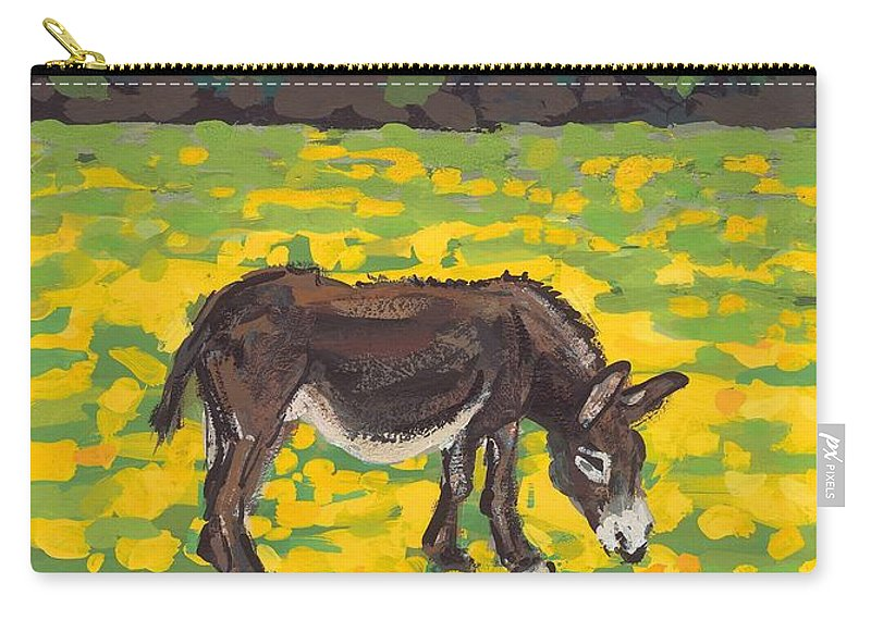 Meadow Carry-all Pouch featuring the painting Donkey And Buttercup Field by Sarah Gillard