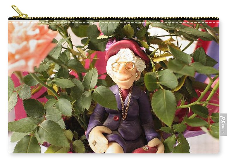 Red Hats Carry-all Pouch featuring the photograph Don't Forget To Stop And Smell The Roses by Carol Groenen