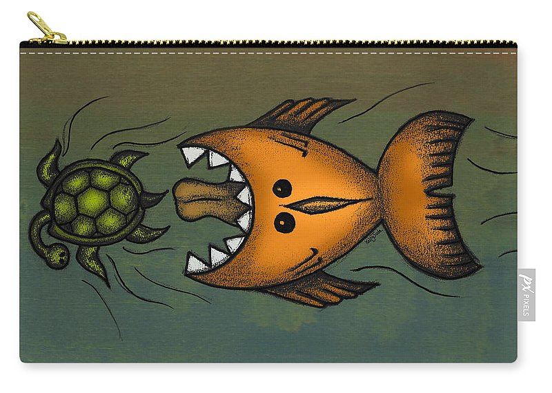 Fish Carry-all Pouch featuring the digital art Don't Look Back by Kelly Jade King