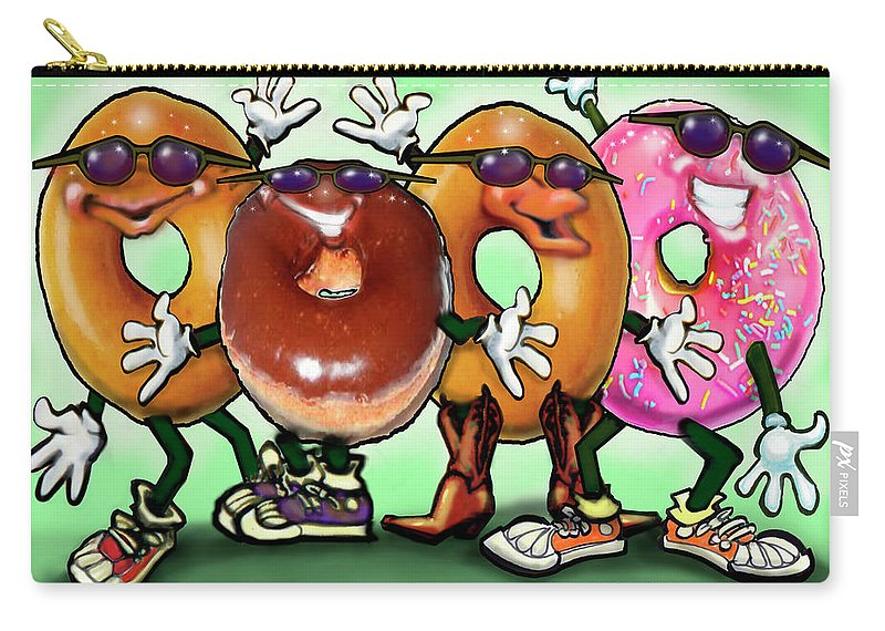 Donut Carry-all Pouch featuring the painting Donut Party by Kevin Middleton