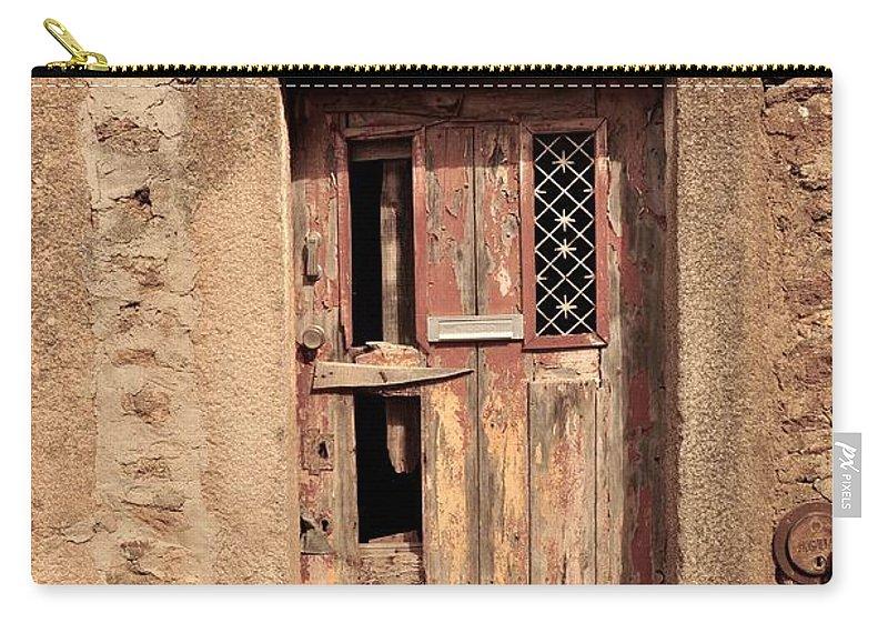 Castelo Rodrigo Carry-all Pouch featuring the photograph Door #3 by Csilla Florida