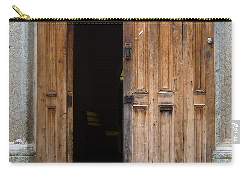 Door Carry-all Pouch featuring the photograph Door Entrance To Church In Guatemala by Douglas Barnett