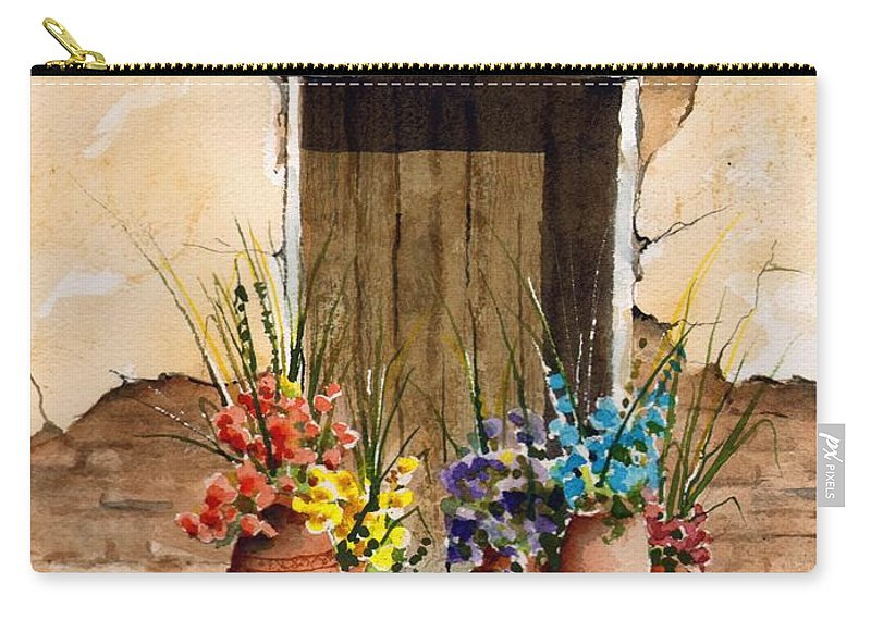 Door Carry-all Pouch featuring the painting Door With Flower Pots by Sam Sidders