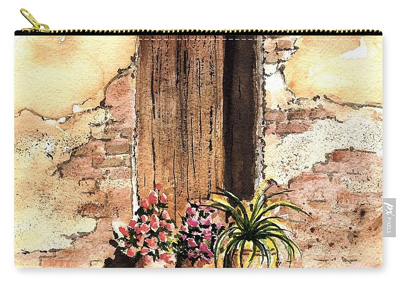 Door Carry-all Pouch featuring the painting Door With Flowers by Sam Sidders