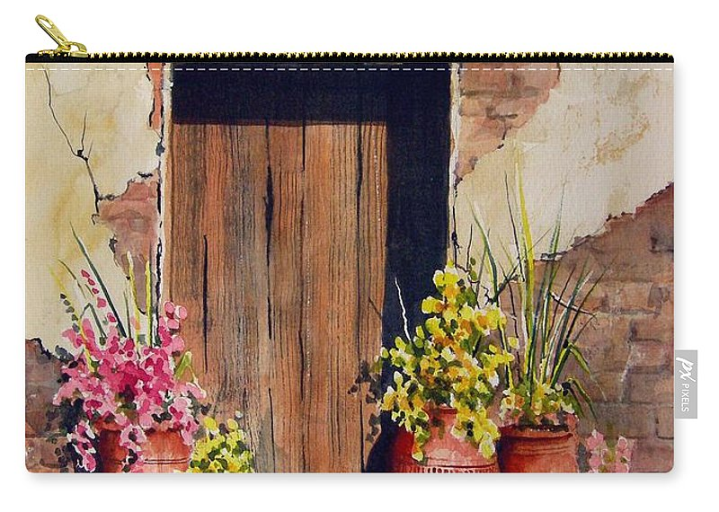 Flowers Carry-all Pouch featuring the painting Door With Pots by Sam Sidders