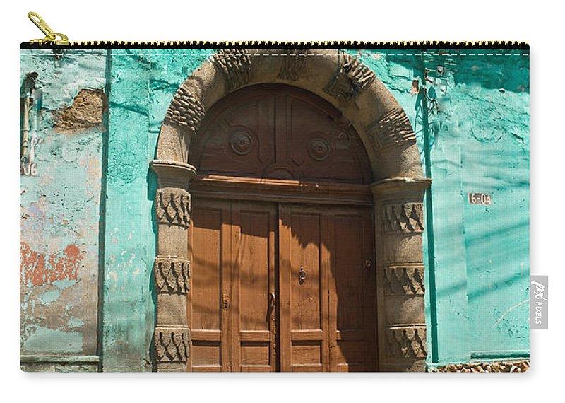 Quezaltenango Carry-all Pouch featuring the photograph Doorway Quezaltenango Guatemala 1 by Douglas Barnett