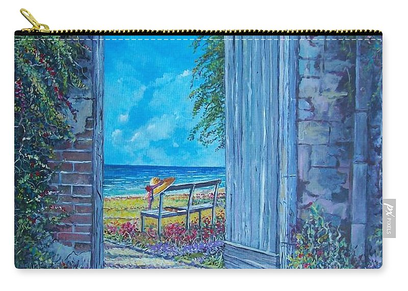 Original Painting Carry-all Pouch featuring the painting Doorway To ... by Sinisa Saratlic
