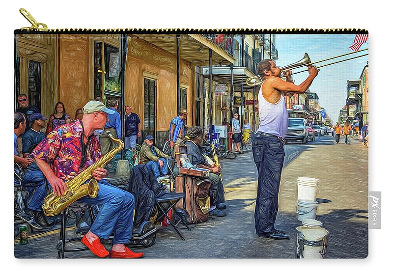 French Quarter Carry-all Pouch featuring the photograph Doreen's Jazz New Orleans - Paint by Steve Harrington