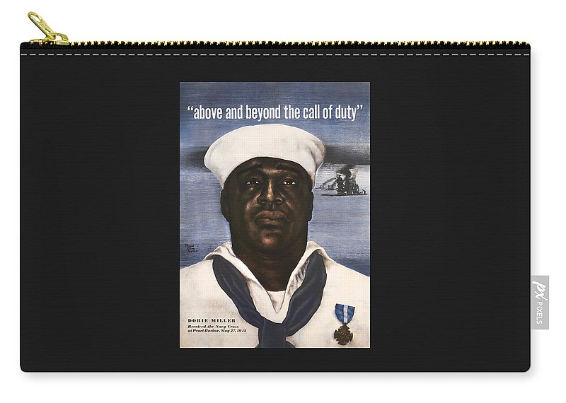 Dorie Miller Carry-all Pouch featuring the painting Dorie Miller - Above And Beyond - Ww2 by War Is Hell Store