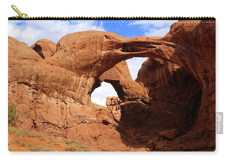 Southwest Art Carry-all Pouch featuring the photograph Double Arch by Marty Koch