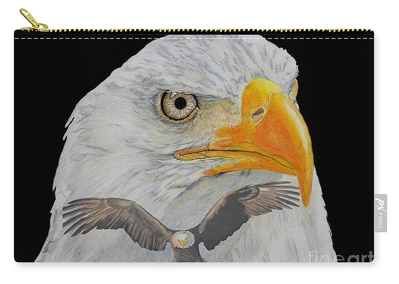 Eagle Carry-all Pouch featuring the drawing Double Eagle by Bill Richards