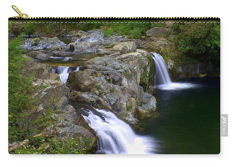 Waterfalls Carry-all Pouch featuring the photograph Double Falls by Marty Koch