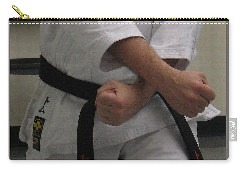Karate Carry-all Pouch featuring the photograph Double Fisted by Kelly Mezzapelle