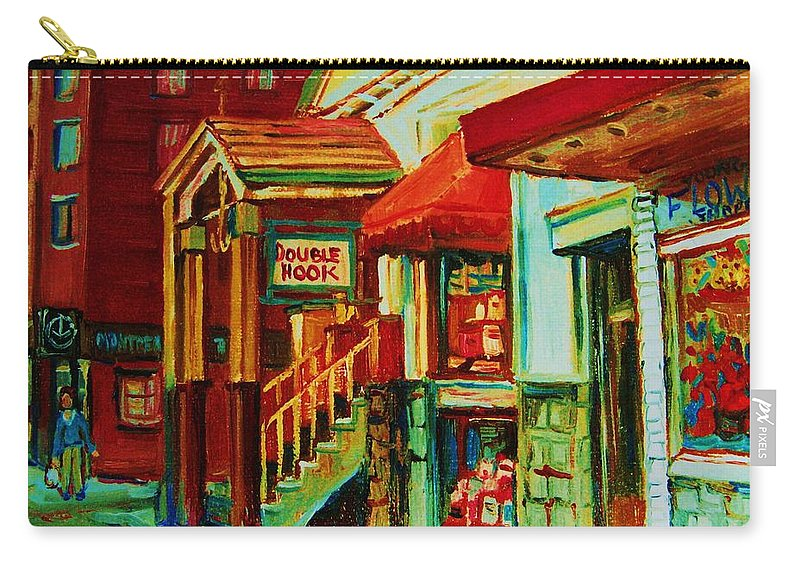 Double Hook Bookstore Carry-all Pouch featuring the painting Double Hook Book Nook by Carole Spandau