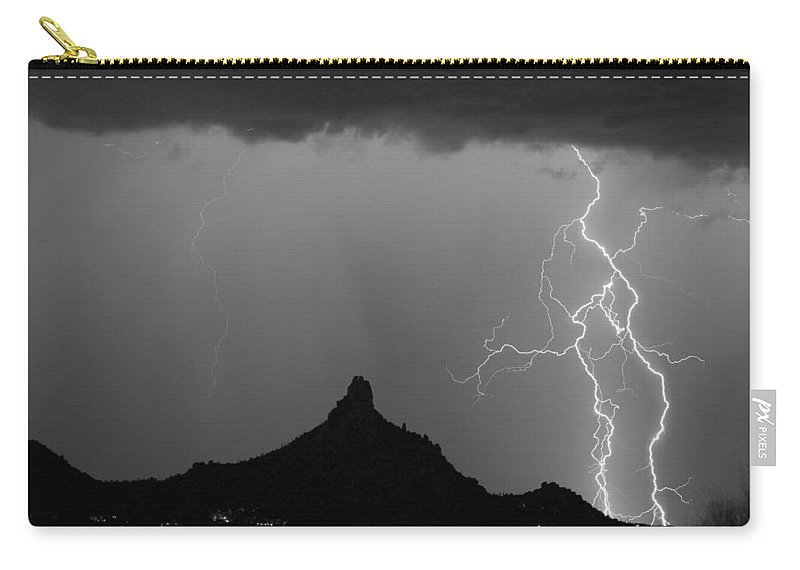 Arizona Carry-all Pouch featuring the photograph Double Lightning Pinnacle Peak Bw Fine Art Print by James BO Insogna