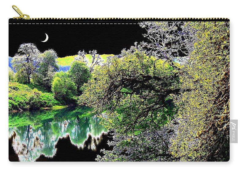 Umpqua River Carry-all Pouch featuring the digital art Double Moon by Will Borden