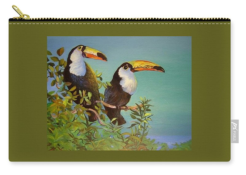 Toucans Birds Tropical Jungle Costa Rica Wildlife Carry-all Pouch featuring the painting Double Trouble by Catherine Robertson