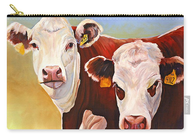 Hereford Carry-all Pouch featuring the painting Double Trouble Hereford Cows by Toni Grote