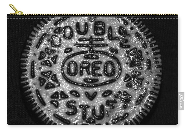 Oreo Carry-all Pouch featuring the photograph Doulble Stuff Oreo In Black And White by Rob Hans