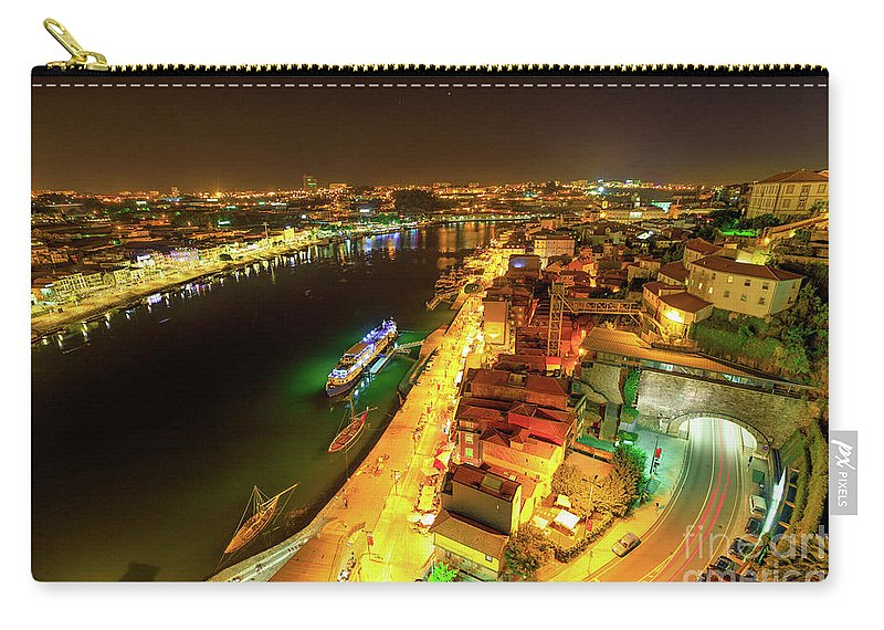 Oporto Carry-all Pouch featuring the photograph Douro River Skyline Night by Benny Marty