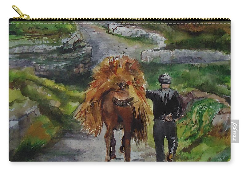 The Hay Has To Be Moved On This Donkeys Back. Farm Carry-all Pouch featuring the painting Down A Country Lane by Charme Curtin