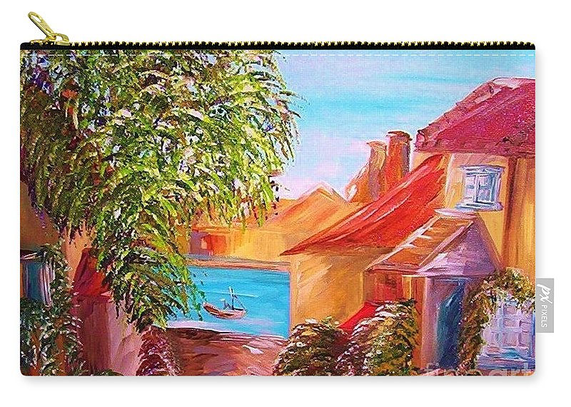 Water Carry-all Pouch featuring the painting Down By The Water by Eloise Schneider Mote