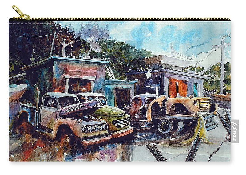 Trucks Carry-all Pouch featuring the painting Down on the Lower Road by Ron Morrison