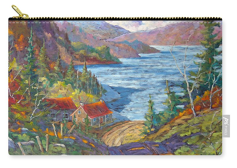 Landscape Carry-all Pouch featuring the painting Down To The Lake by Richard T Pranke