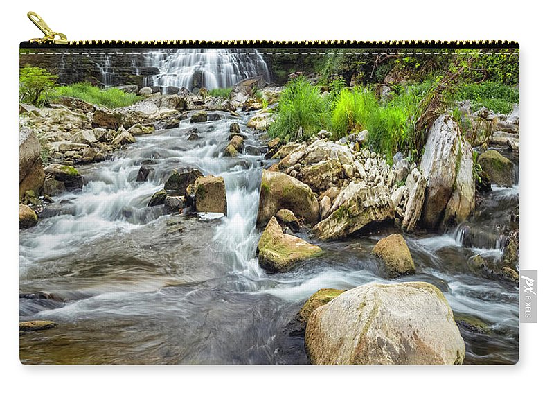 New York Carry-all Pouch featuring the photograph Downstream From Chittenango Falls by Karen Jorstad