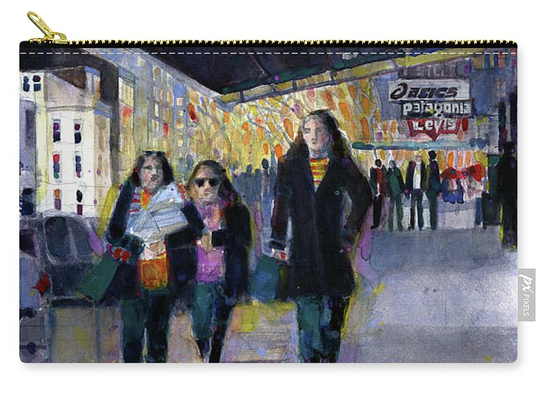 Urbanscape Carry-all Pouch featuring the painting Downtown Babes by Dorrie Rifkin
